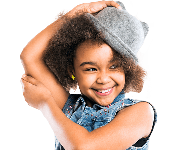 Young smiling girl wearing hat