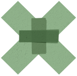 Animated green 'X' with cross inside