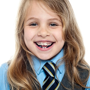 young girl with orthodontics