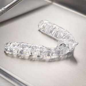 clear aligners on metal tray